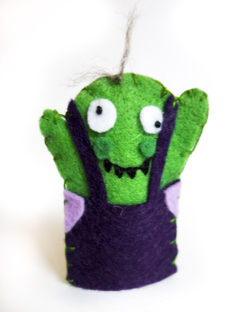 From my own site, Boggart finger puppets! Easy and adorable.