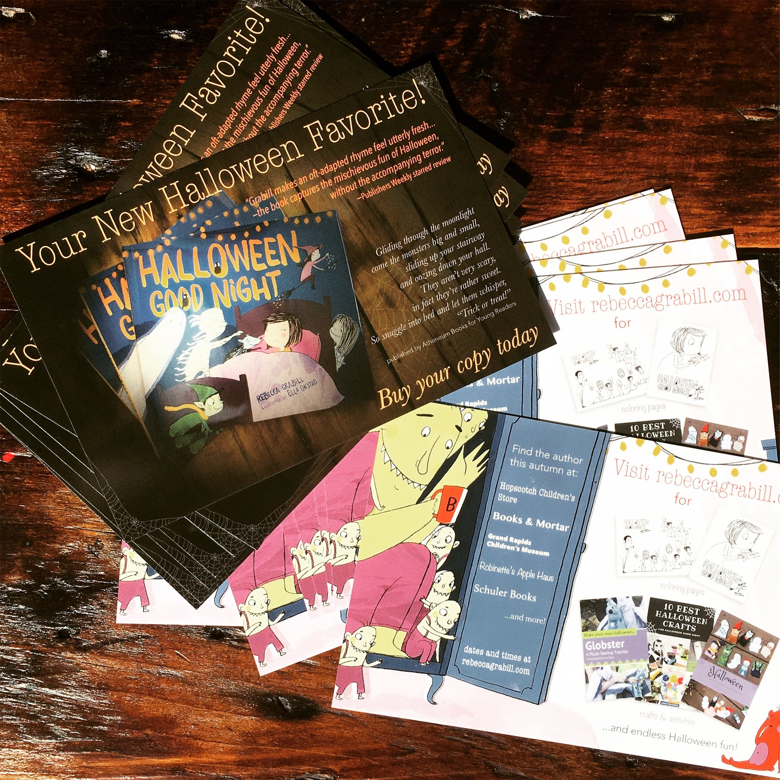 Halloween Good Night by Rebecca Grabill author postcards.