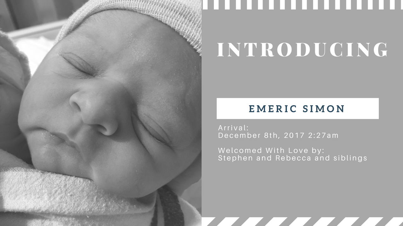 Birth announcement in gray