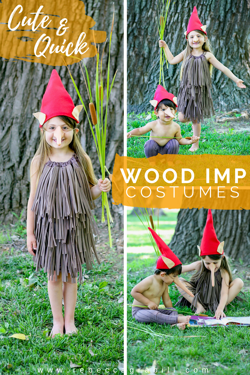 ou'll have the cutest imps on the block with this super easy DIY Halloween Wood Imp costume!