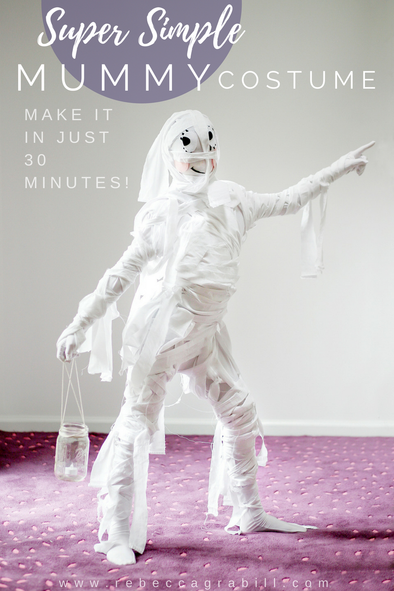 Make this amazing Mummy costume for just a few dollars and in less than 30 minutes!