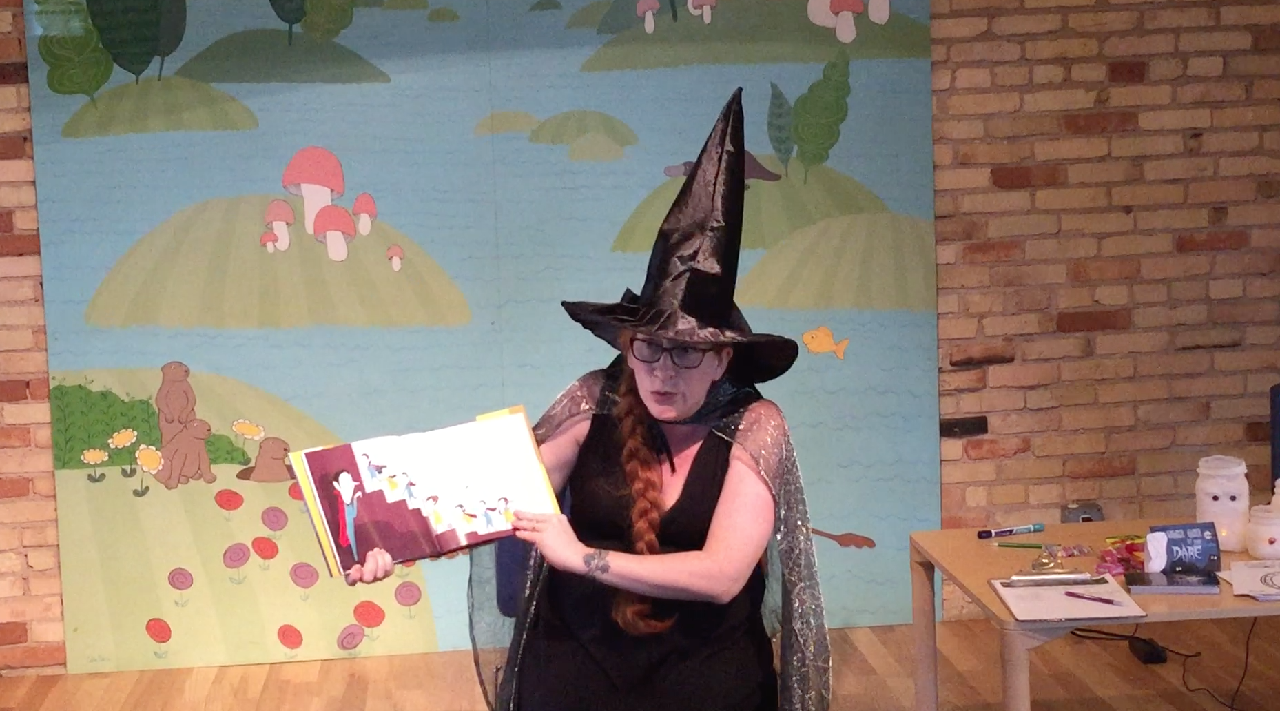 Rebecca Grabill, author of Halloween Good Night, reading at Grand Rapids Children's Museum