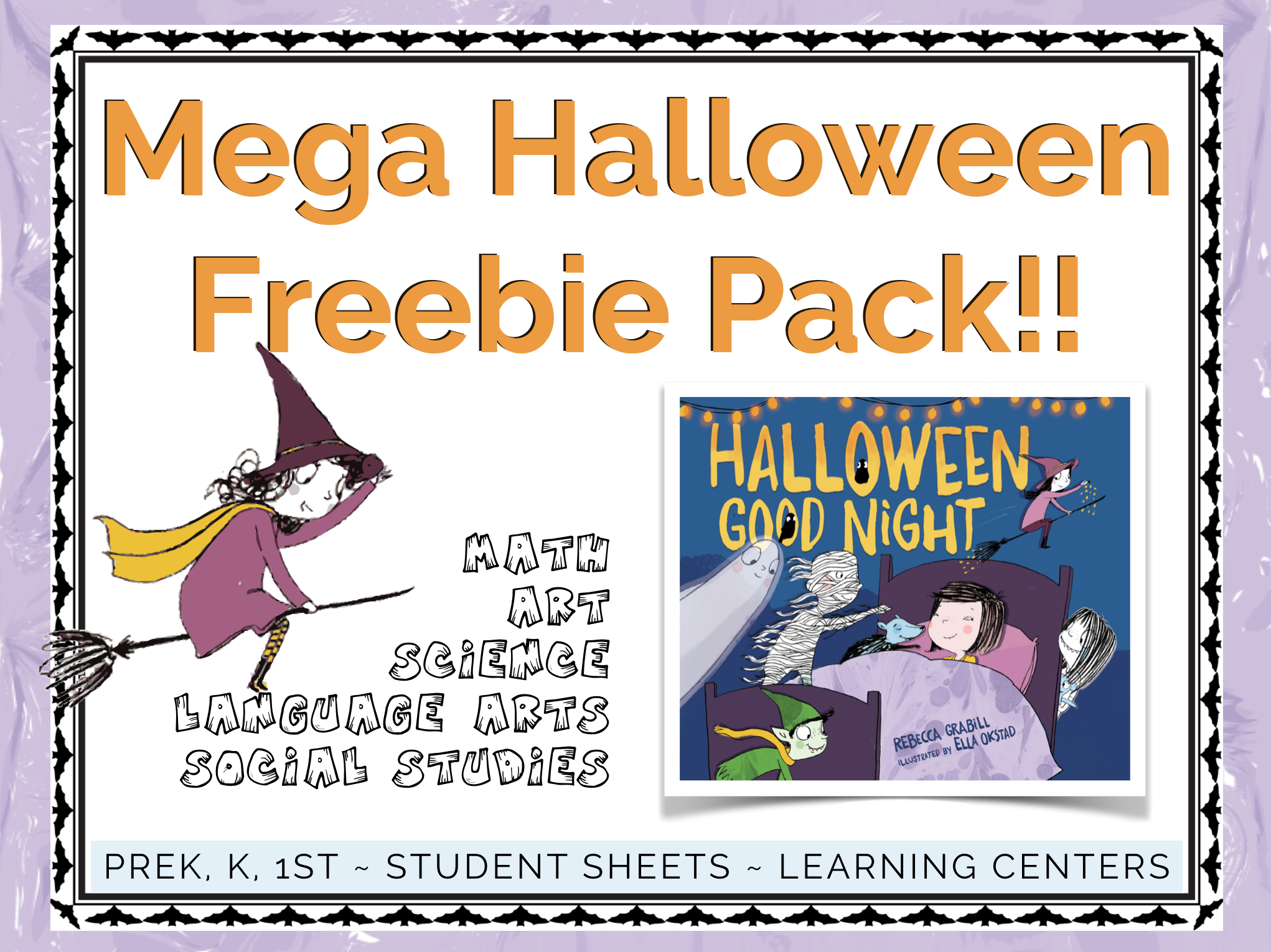 Mega Halloween Printable Pack goes along with the picture book Halloween Good Night by Rebecca Grabill. Everything you need for language arts, math, science, social studies, art.