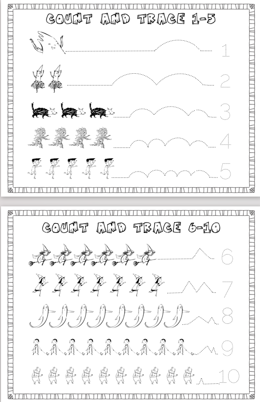 Count and trace free halloween printables. Perfect for Halloween preschool lessons!