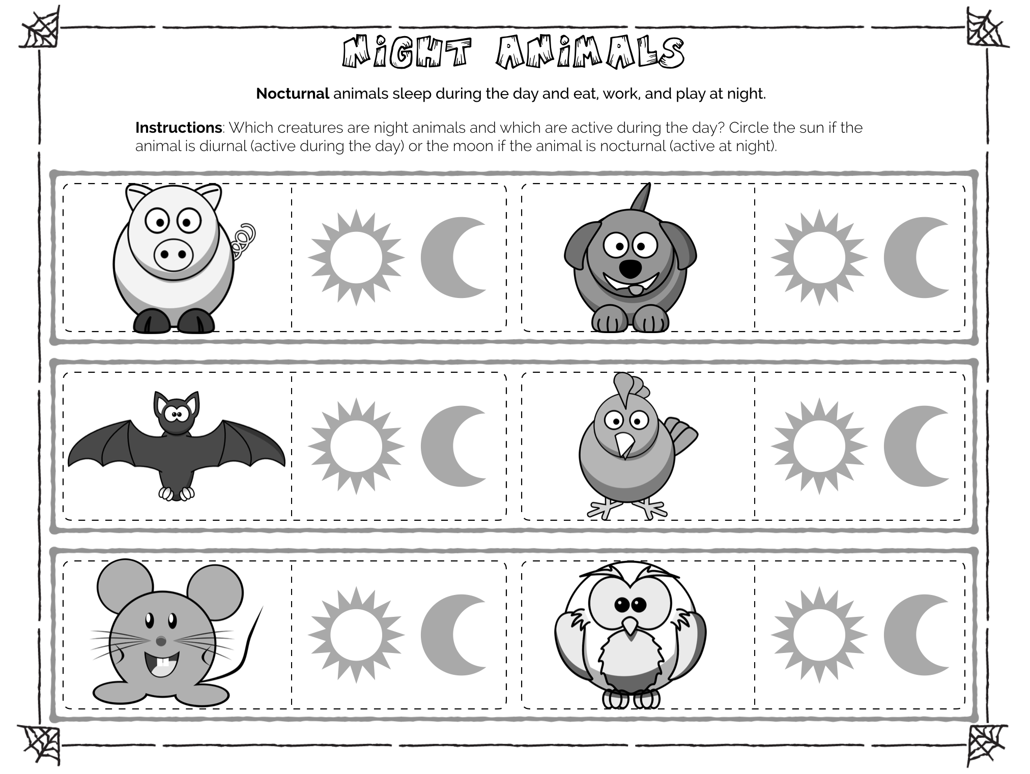 Free printable Halloween worksheet about night animals. Which animals are nocturnal?