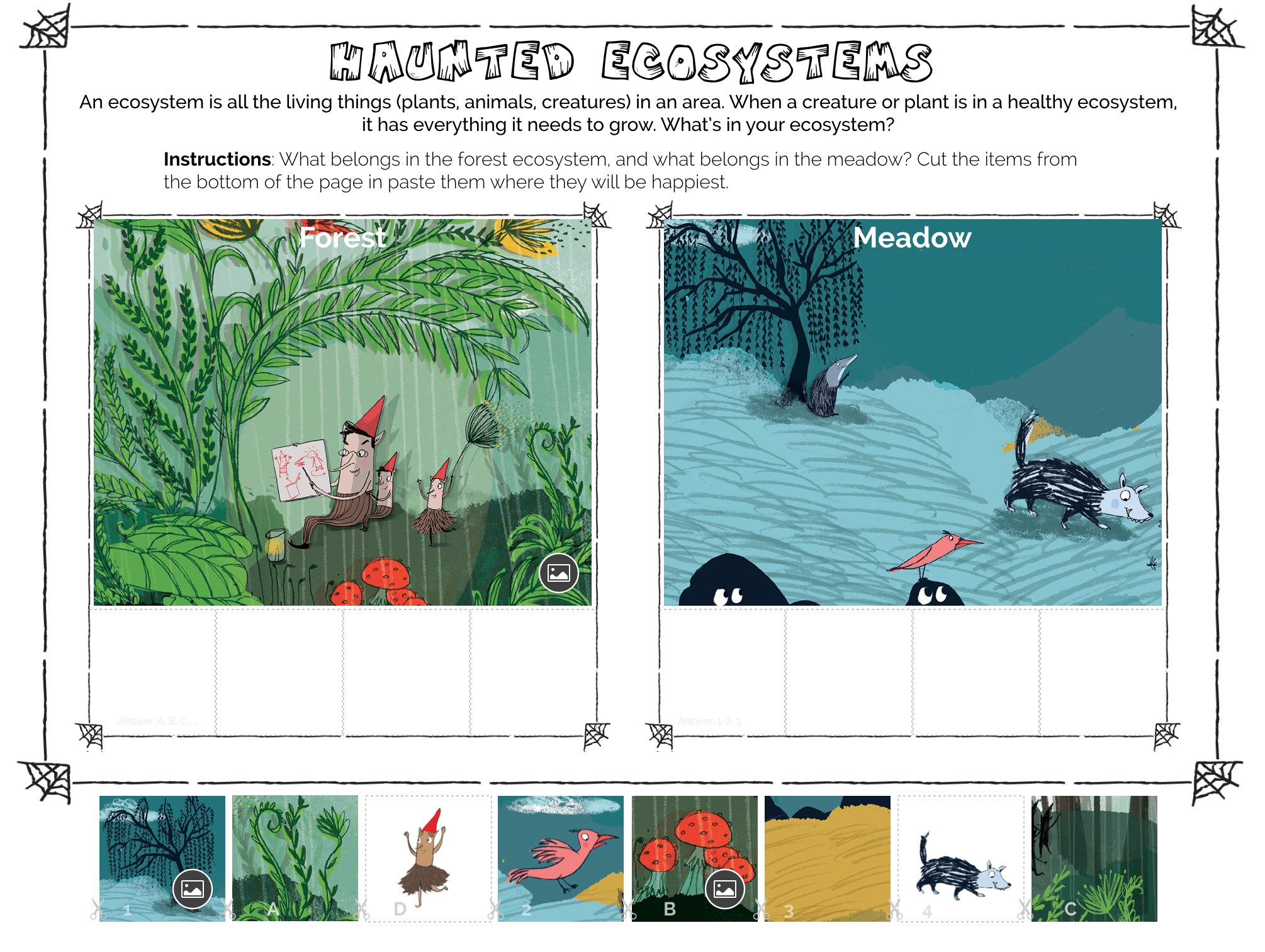 Free Halloween STEM printable to learn about Ecosystems.