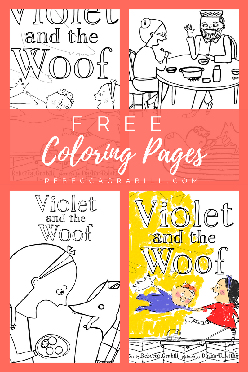 Free Coloring Pages for the retelling of Little Red Riding Hood, Violet and the Woof by Rebecca Grabill and Dasha Tolstikova.