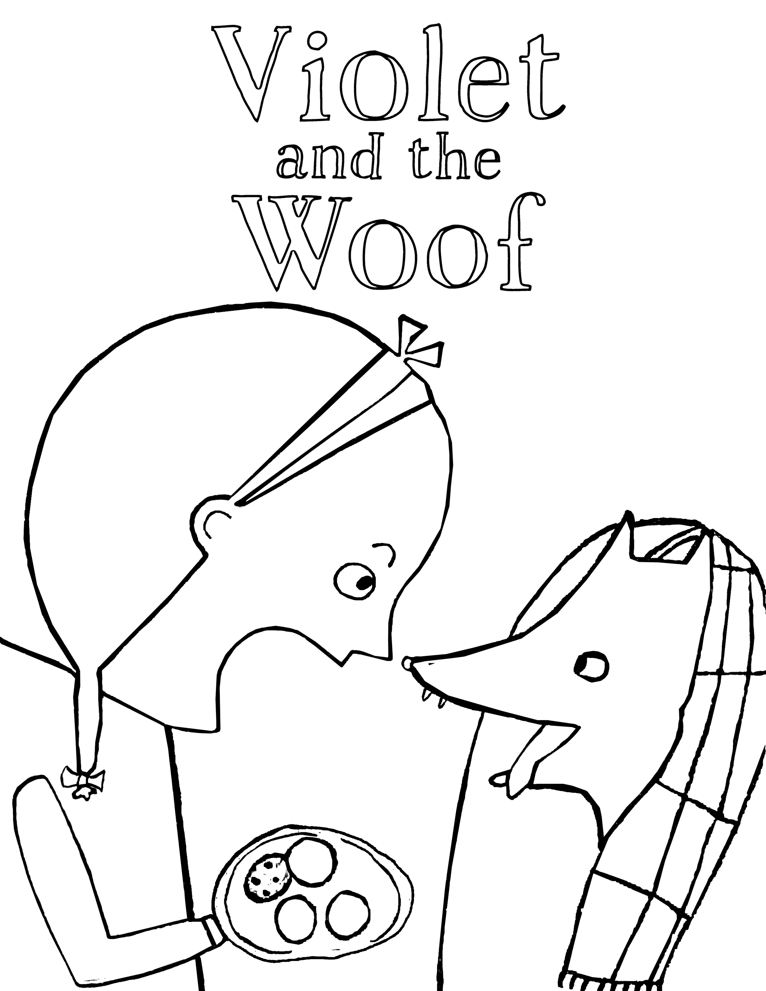 Violet and the WOOF! a free printable coloring page from Violet and the Woof by Rebecca Grabill and Dasha Tolstikova