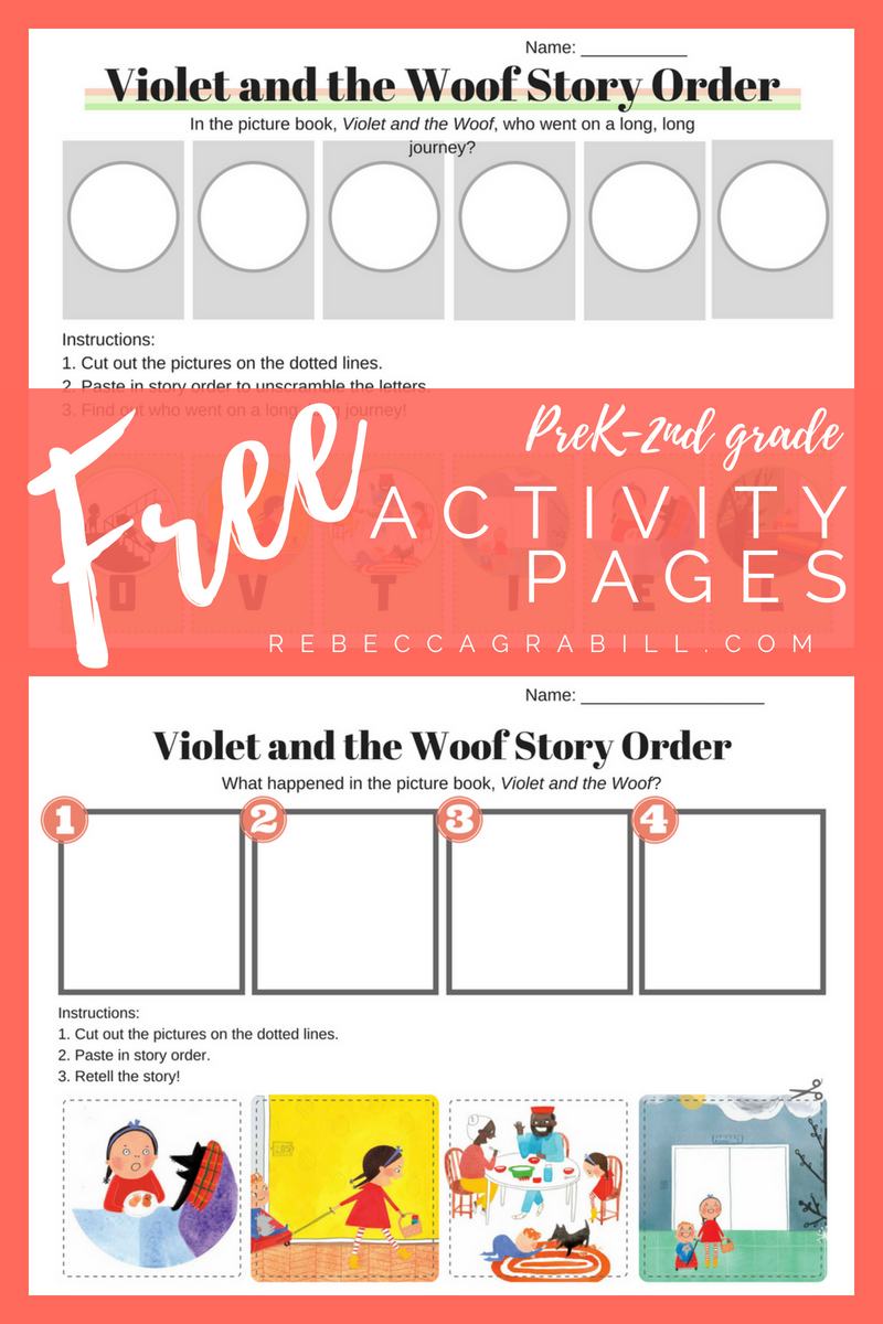 Free sequencing worksheets — a free printable coloring page from Violet and the Woof by Rebecca Grabill and Dasha Tolstikova