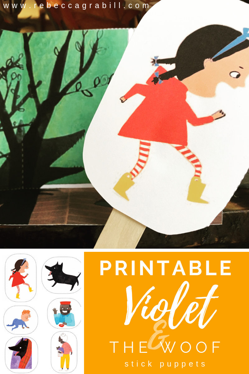 Free printable puppets to go along with the picture book Violet and the Woof (a retelling of Little Red Riding Hood). These are so cute and so easy! A puppet theatre is included in the free downloadable PDF.