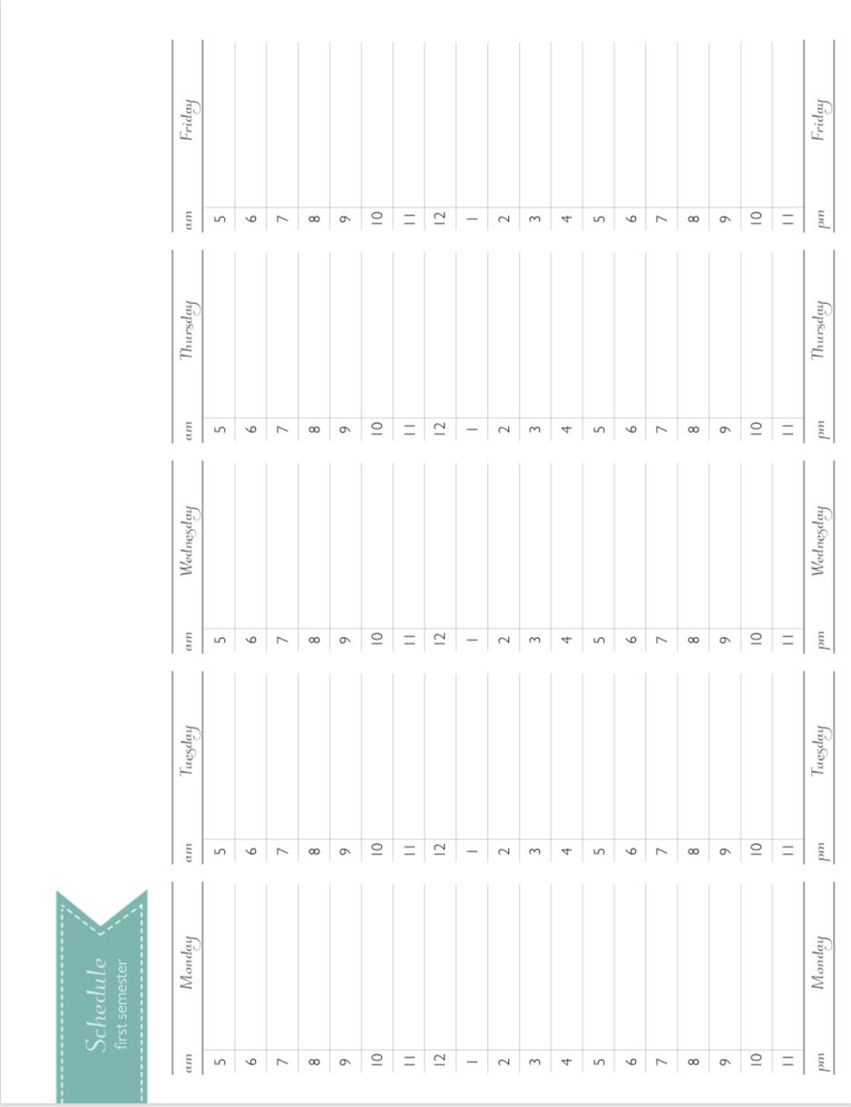 Semester At A Glance Calendar