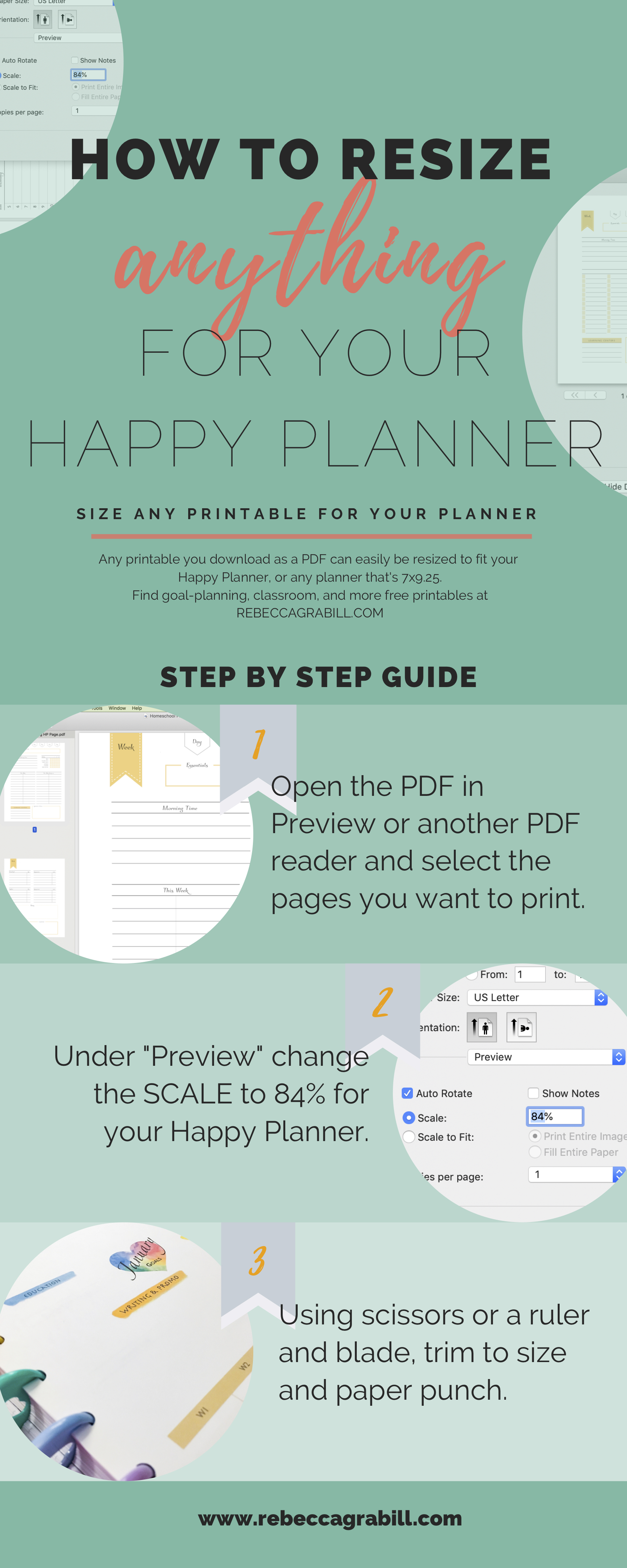 A step-by-step guide for resizing any PDF to print exactly the right size for your Happy Planner or most other mid-sized planners.