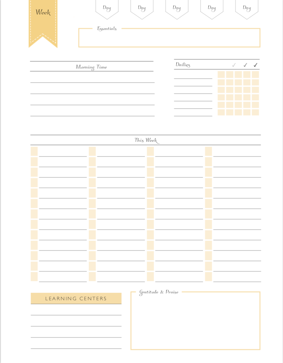 Classroom or Homeschool lesson Planning Page. This free printable helps you stay organized in the classroom teaching or in your home school.