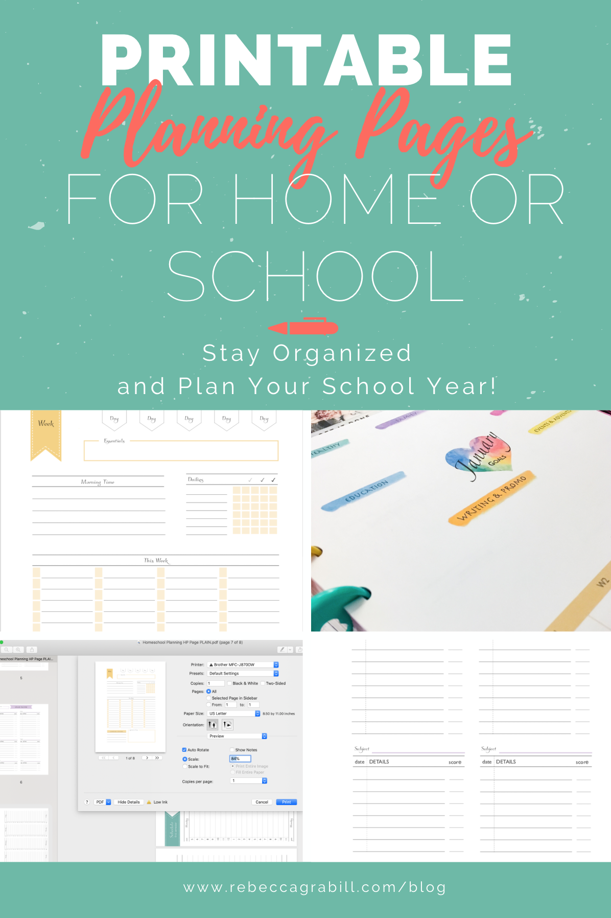 I created these school planning pages out of desperation. I SO needed to get back on track! Did they help? Some more than others. But I can say for certain that they are 100% cute. In this free download you'll find a weekly lesson plan, semester schedule, grade report sheets, and book/media record sheets. All can be sized for any planner, including my particular fave, the Happy Planner.