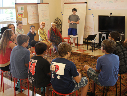 A student-led discussion at Acton Academy