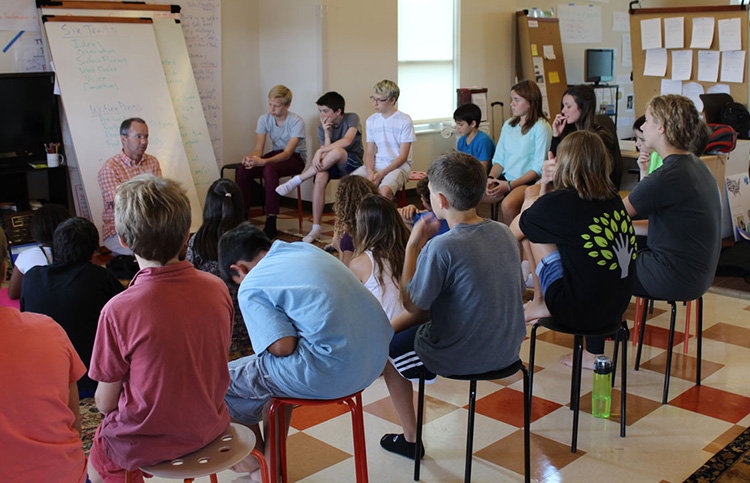 A Socratic discussion at Acton Academy