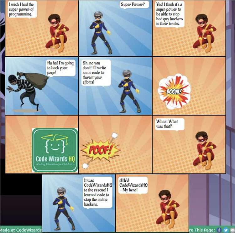 Comic created using HTML code taught during live class instruction from  Code Wizards HQ . Photo credit:  Homeschool Review Crew .