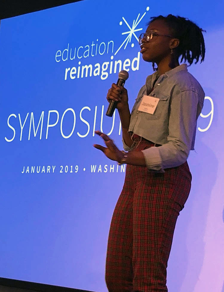 Jasmine McBride, a student who spoke at the symposium about her experiences in a learner-centered high school.