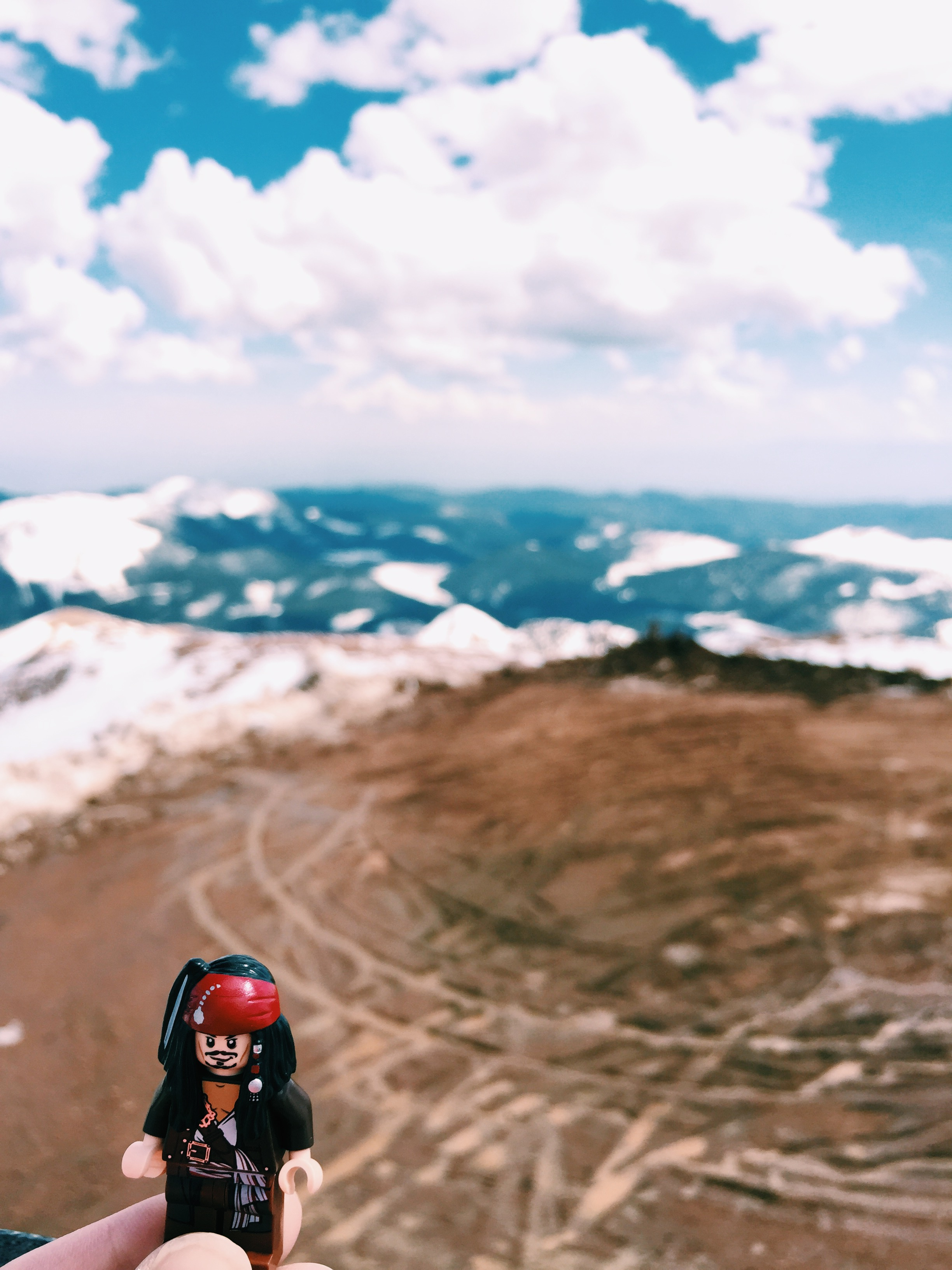 Jack enjoying the view from a snowy Pike's Peak.