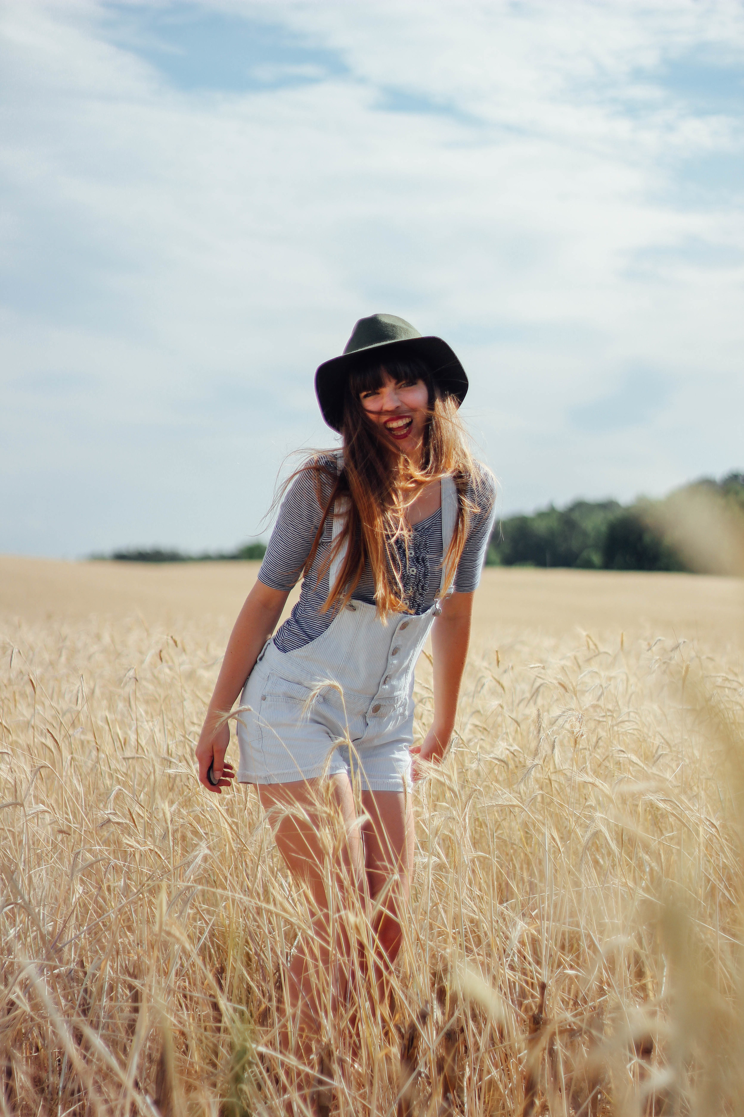 Shirt: Old Navy * Overalls: thrifted * Hat: Forever21