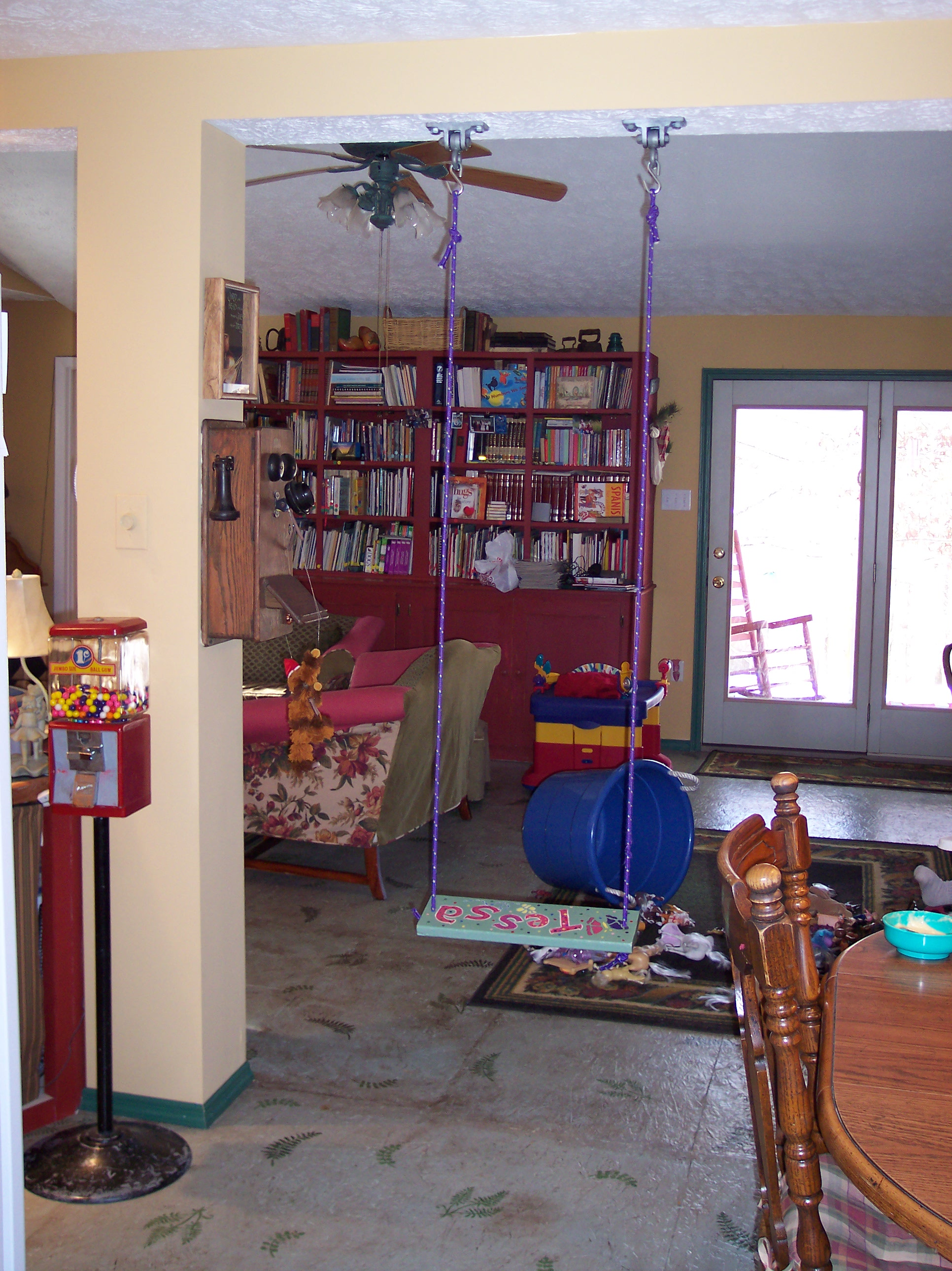 the swing in the kitchen AND THE PAINTED OSB FLOORS