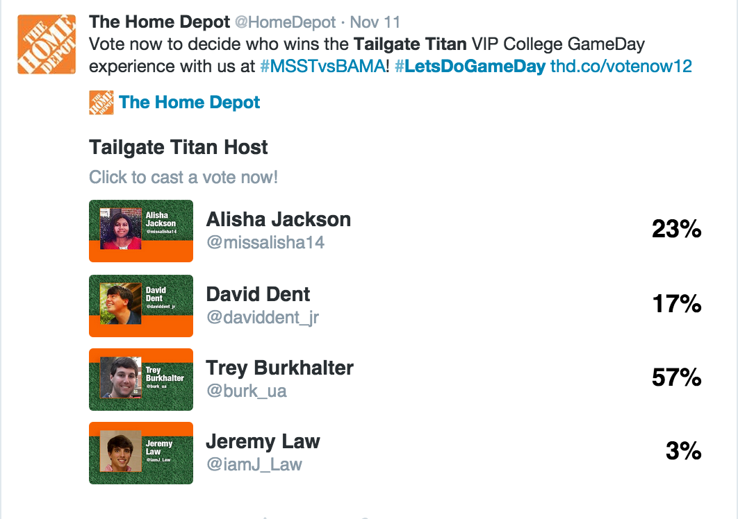 Worked with Twitter to create voting system for our Tailgate Titan competitors