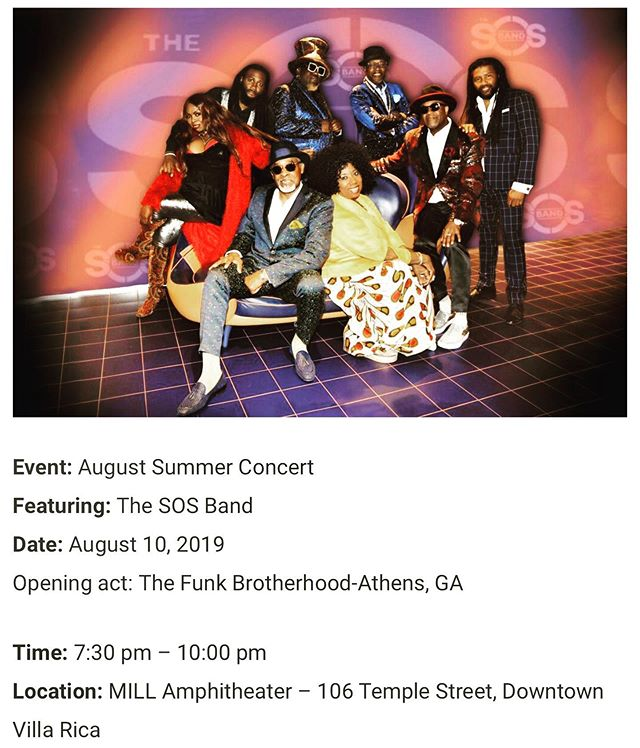 Getting #funky tonight with SOS Band at The Mill Amphitheater in Villa Rica, GA. The Brotherhood kicks as 7:30 Sharp!