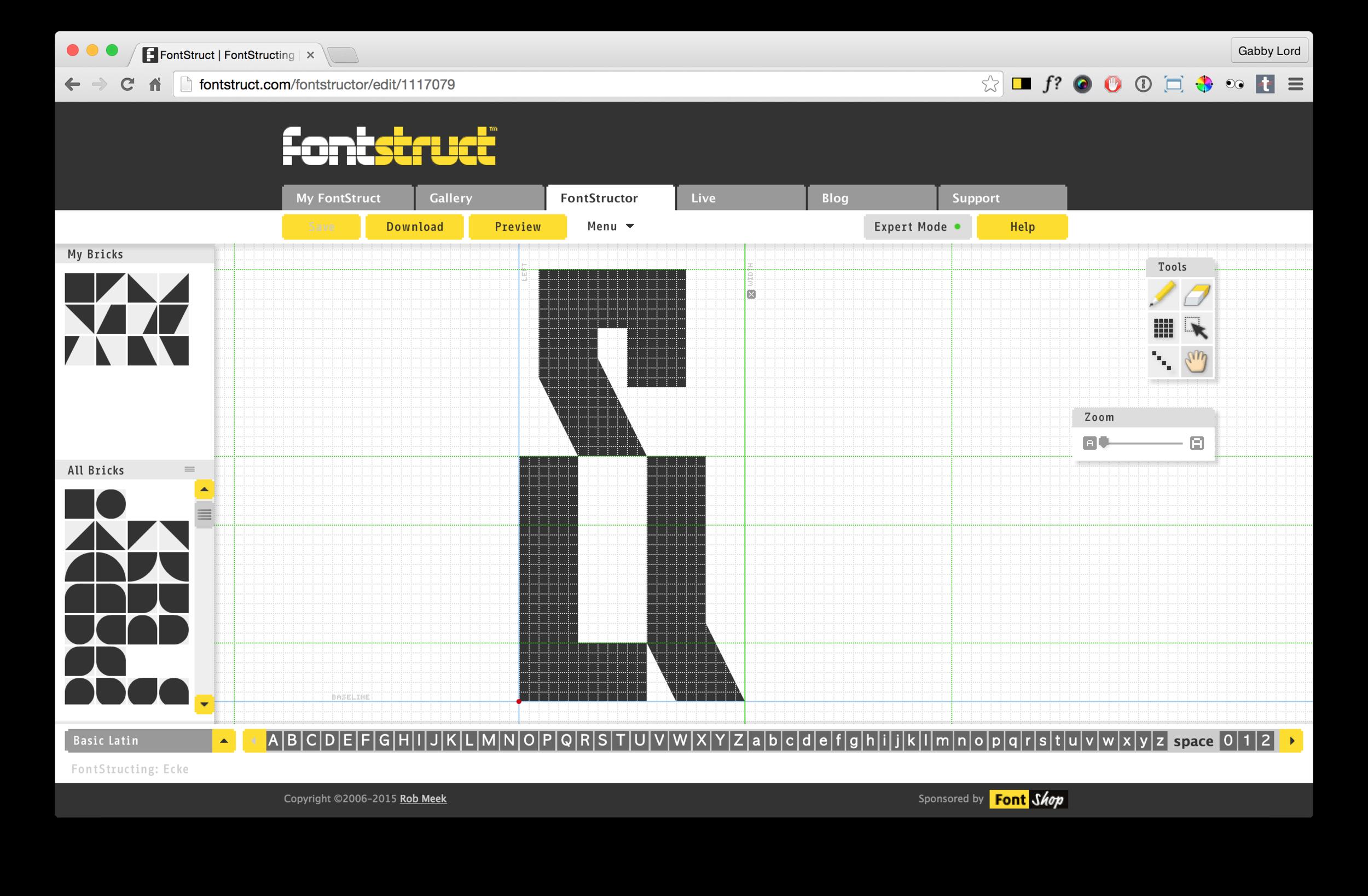 Fontstruct edit mode
