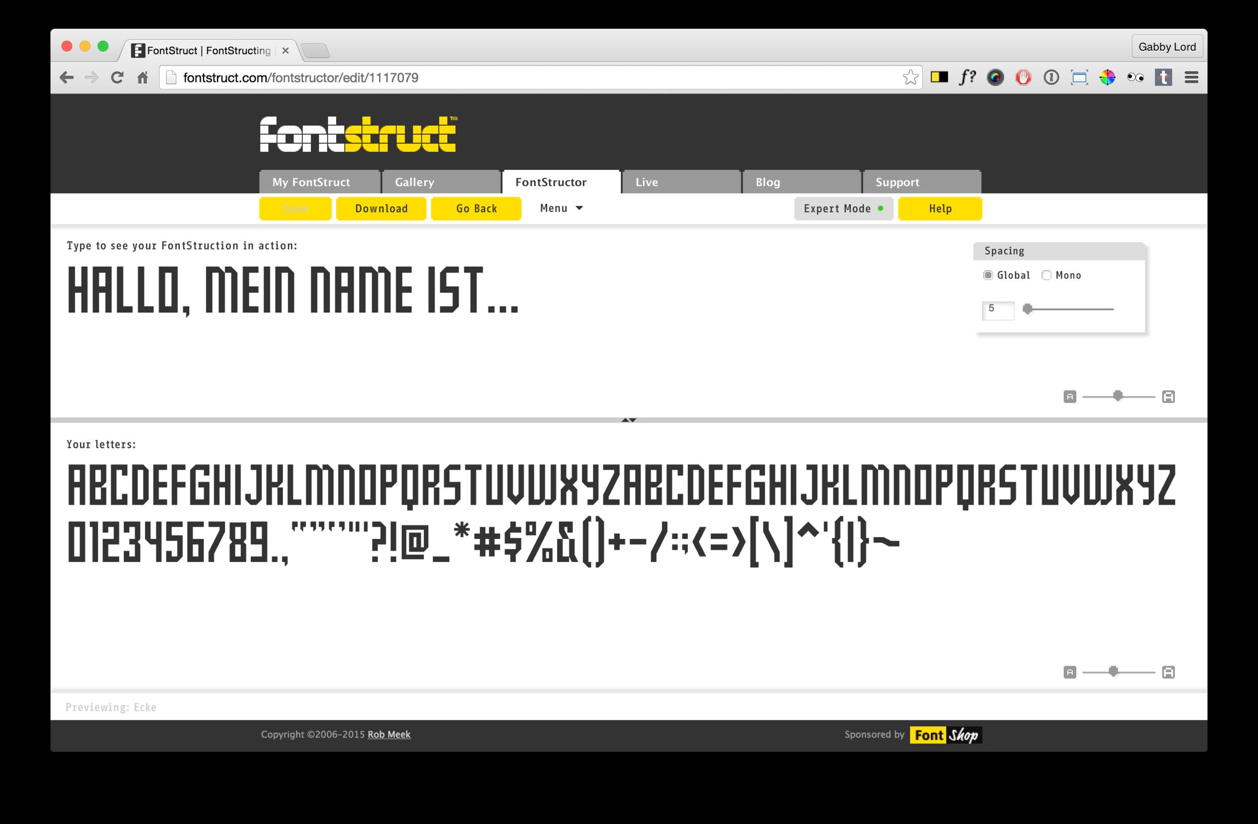 Fontstruct preview mode