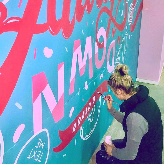 Kate Pullen (@katepullendraws) at it again. This gal is talented, hilarious and can paint one hell of a mural. · · · #broadsdownunder #womenindesign #graphicdesign #design #mural #illustration