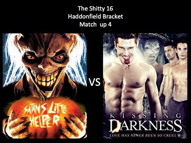 WHICH IS WORSE?! Vote in the comments below! Here we have Satan's Little Helper vs Kissing Darkness! Vote on Moongoons! #satanslittlehelper #kissingdarkness #fitting #marchmoviemadness #horriblehorrorpodcast #horrorpodcast #moongoons