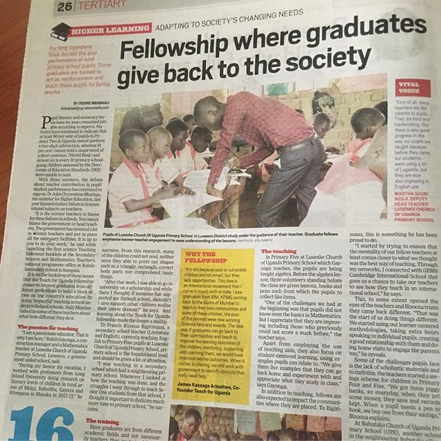 On Dec. 10th. 2018 our @teachforuganda fellows aka #teacher-leaders were profiled by the #DailyMonitor- one of the leading National dailies . We are honored to see our work of unleashing the education and life potential of children in our rural and underserved communities shared on the national stage! It's great inspiration to our fellows, our team, and board & partners and a testament we've much more work ahead of us in 2019 and beyond. @teachforall