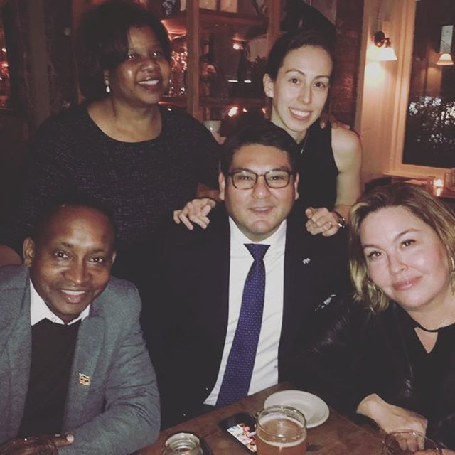 """Great reunion of amazing """"Single Stop USA Alumni """" in New York tonight! Thanks amazing friends for coming out to support @teachforuganda in a huge way! Our collective future is bright with amazing leaders like you! @masonelisabeth @ddelsignore"""