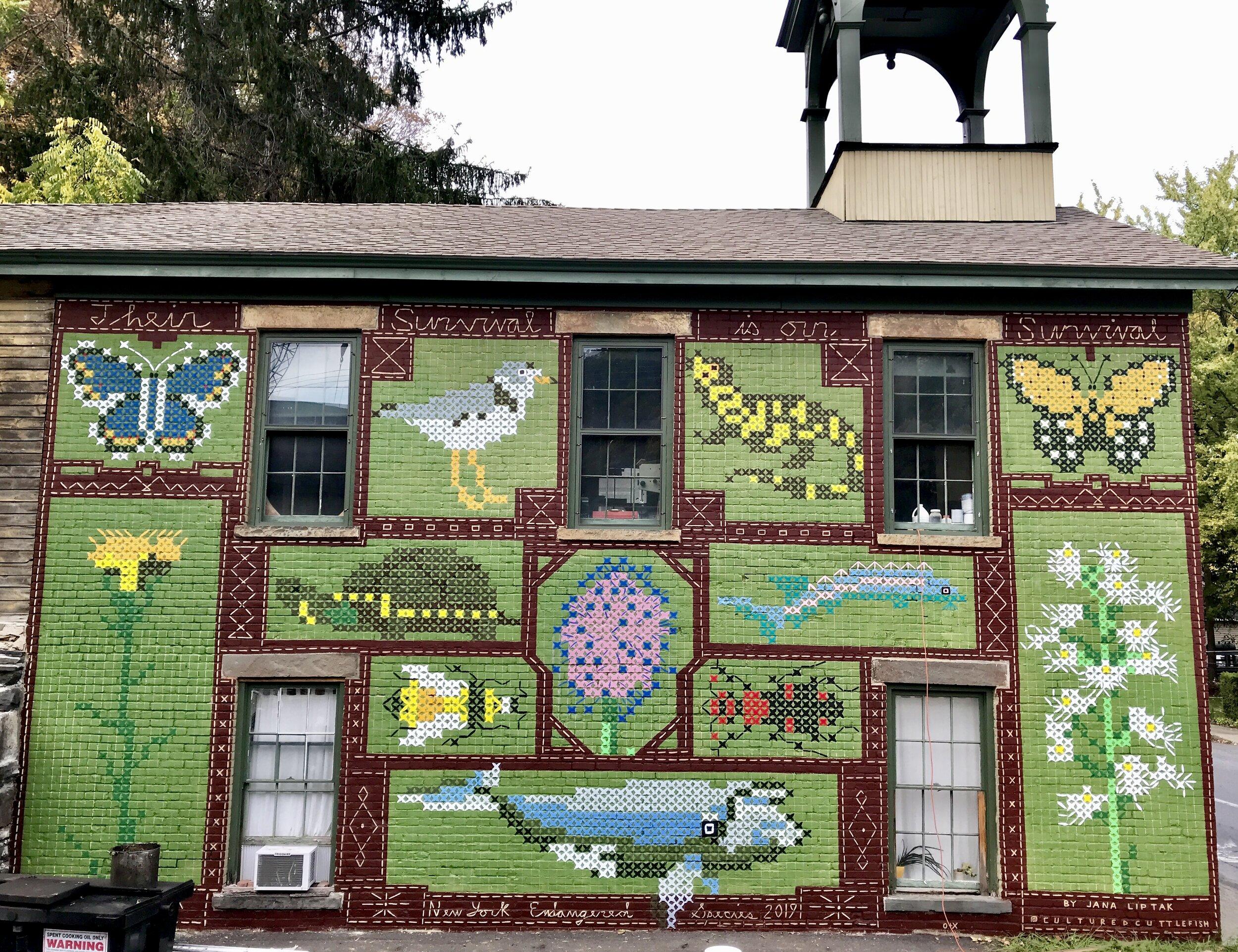 """Their Survival is our Survival,""  O Positive Kingston , 35' x 20', 3 Dunn Street (Old Twalfskill Firehouse), Kingston, NY 2019"