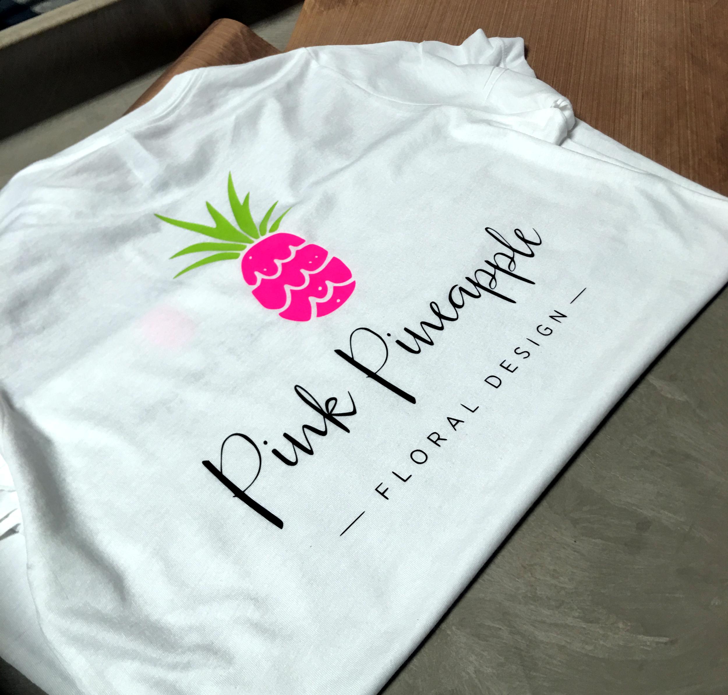 Pink Pineapple Floral Design - Custom logo t-shirts