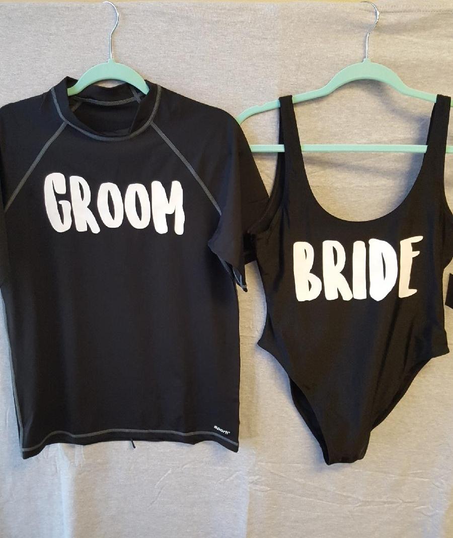 Custom Groom Rashguard and Custom Bride Bathingsuit
