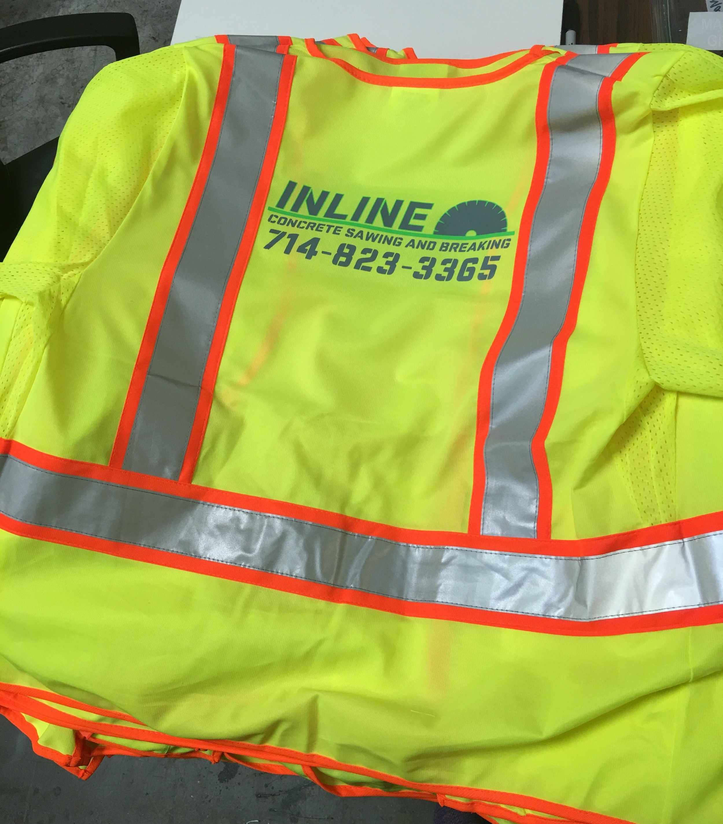 Custom Safety Vests with company logo Inline Concrete
