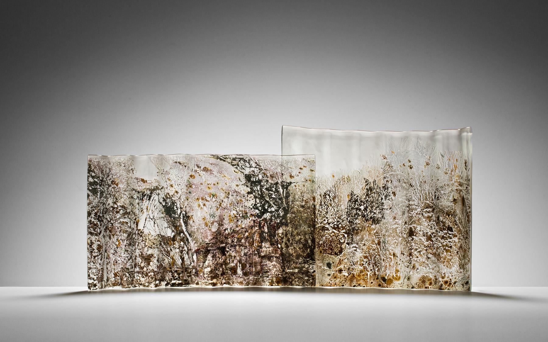"""""""Cascade Hut"""" 2013, Blown & kilnformed glass panels, H410mm x L1020mm x W150mm"""