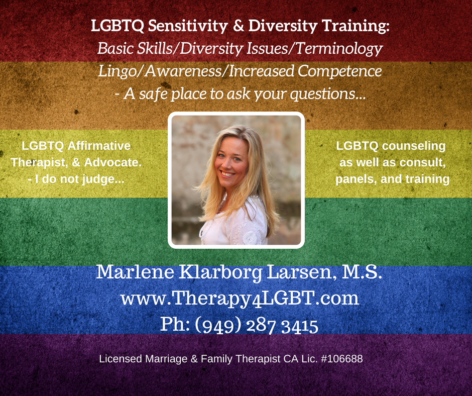 Marlene Klarborg Larsen LGBTQ Sensitivity trainLGBTQ Sensitivity and diversity training Basic skills, diversity issues, terminology lingo and awareness. increased competence  LGBTQ.jpg