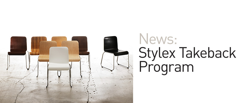 "Stylex is now partnering with ANEW to enact a sustainable take-back program.  ANEW, which strives to ""do what's right with what's left,"" will help Stylex continues its green mission by diverting landfill-destined materials into new hands.  Through this program, architectural goods, fixtures, and furniture (including Stylex seating) are transferred to a local charity, extending product lifetime and reducing environmental impact. The effects of product repurposing are impressively comprehensive. It raises corporate social responsibility, strengthens community networks by providing materials to those in need, and mitigates climate change by reducing landfill input.  Stylex has incorporated the take-back program into its corporate strategy, marking the company's commitment to waste reduction, social welfare, and communal responsibility."