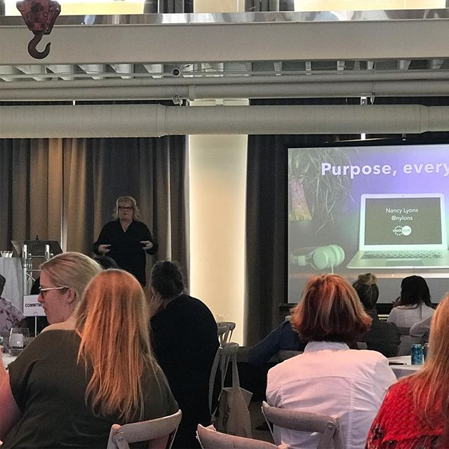 Learning about purpose from the hilarious and brilliant Nancy Lyons.  @clockworkinteractive speaks truth through humor to @thebwcorg #peerpower #bwcforummpls #machineshop #womenleaders