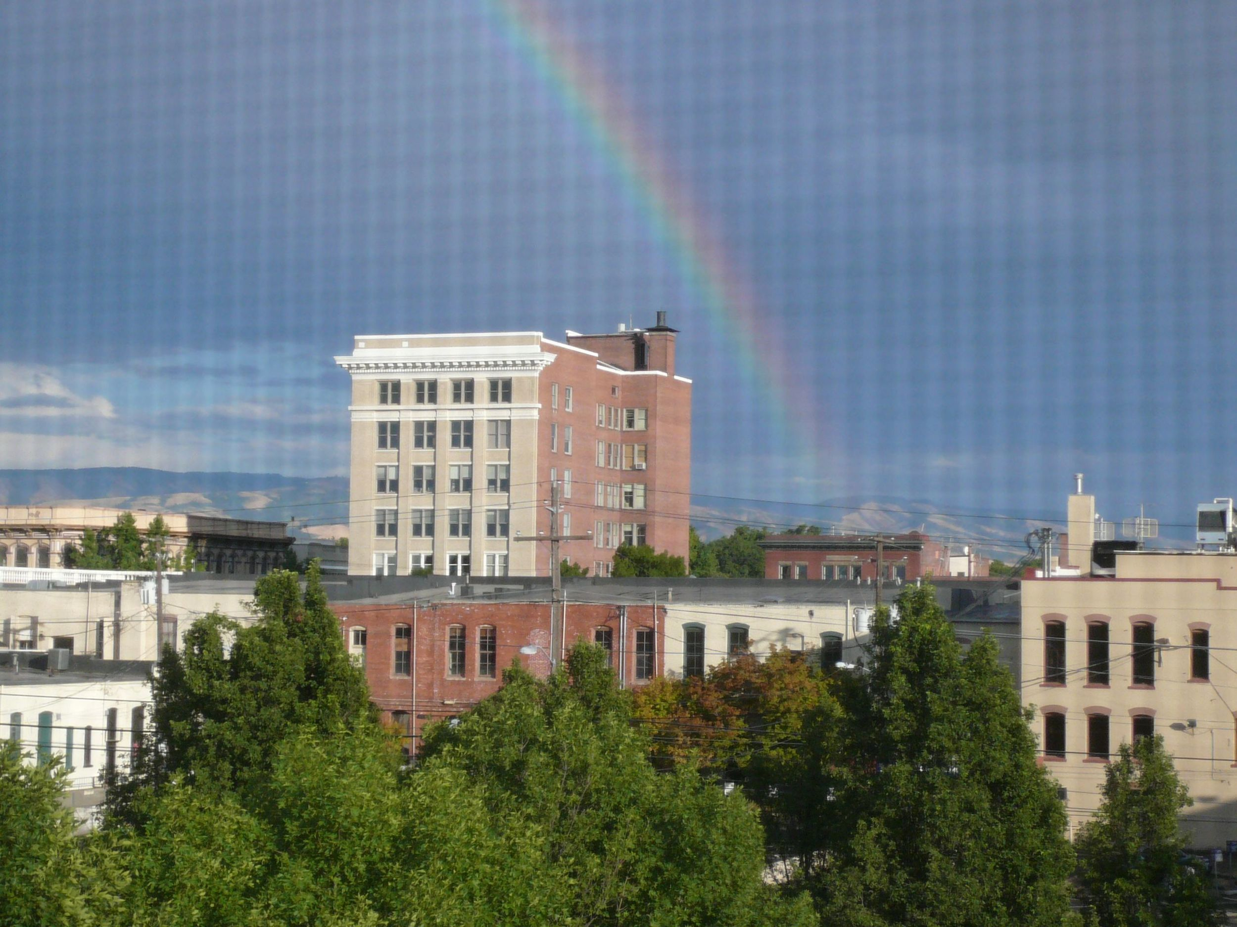 Marcus Whitman Hotel and Rainbow to the east.