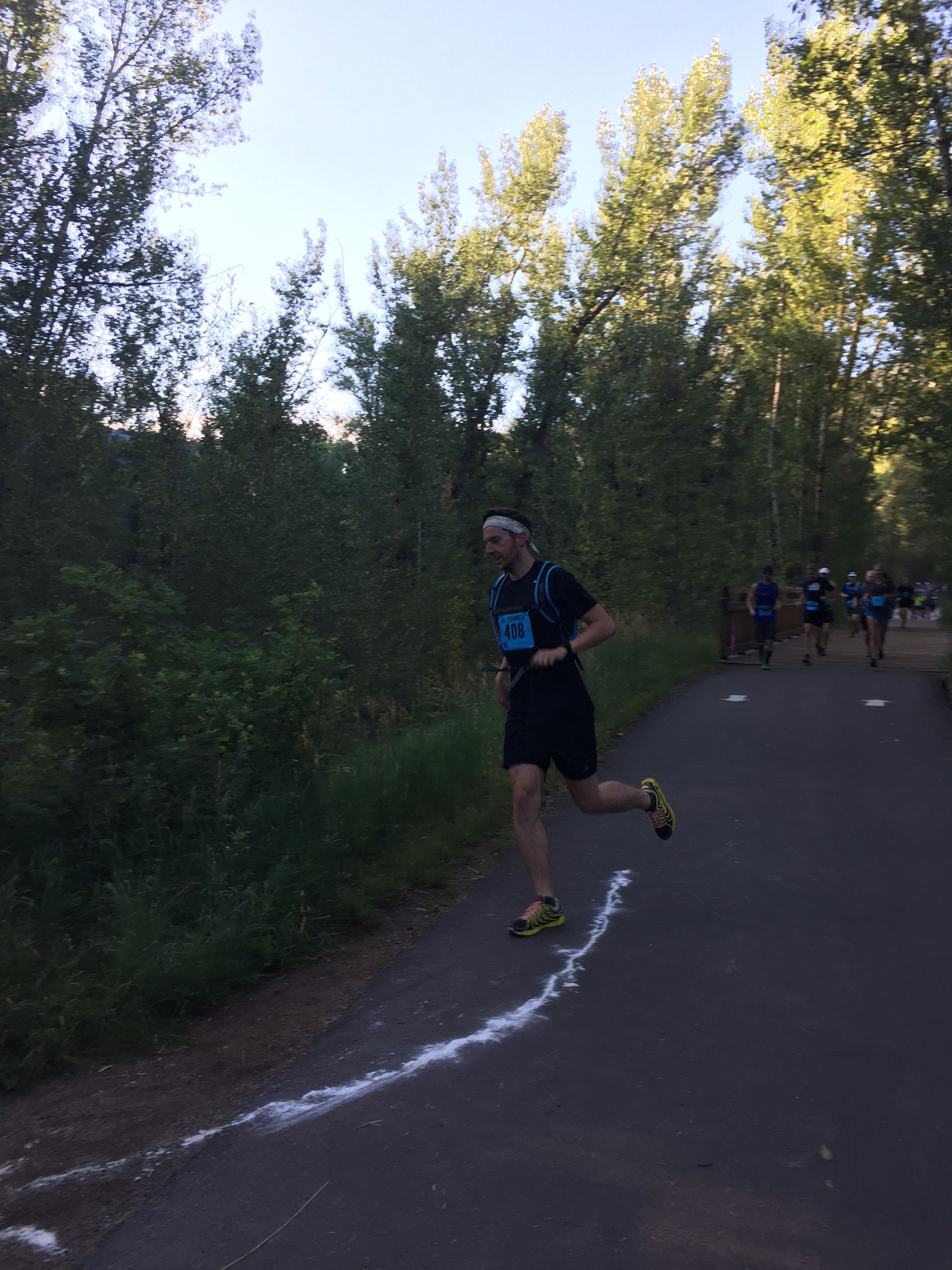 Alex on course, a quarter mile into the 13.1 mile race.