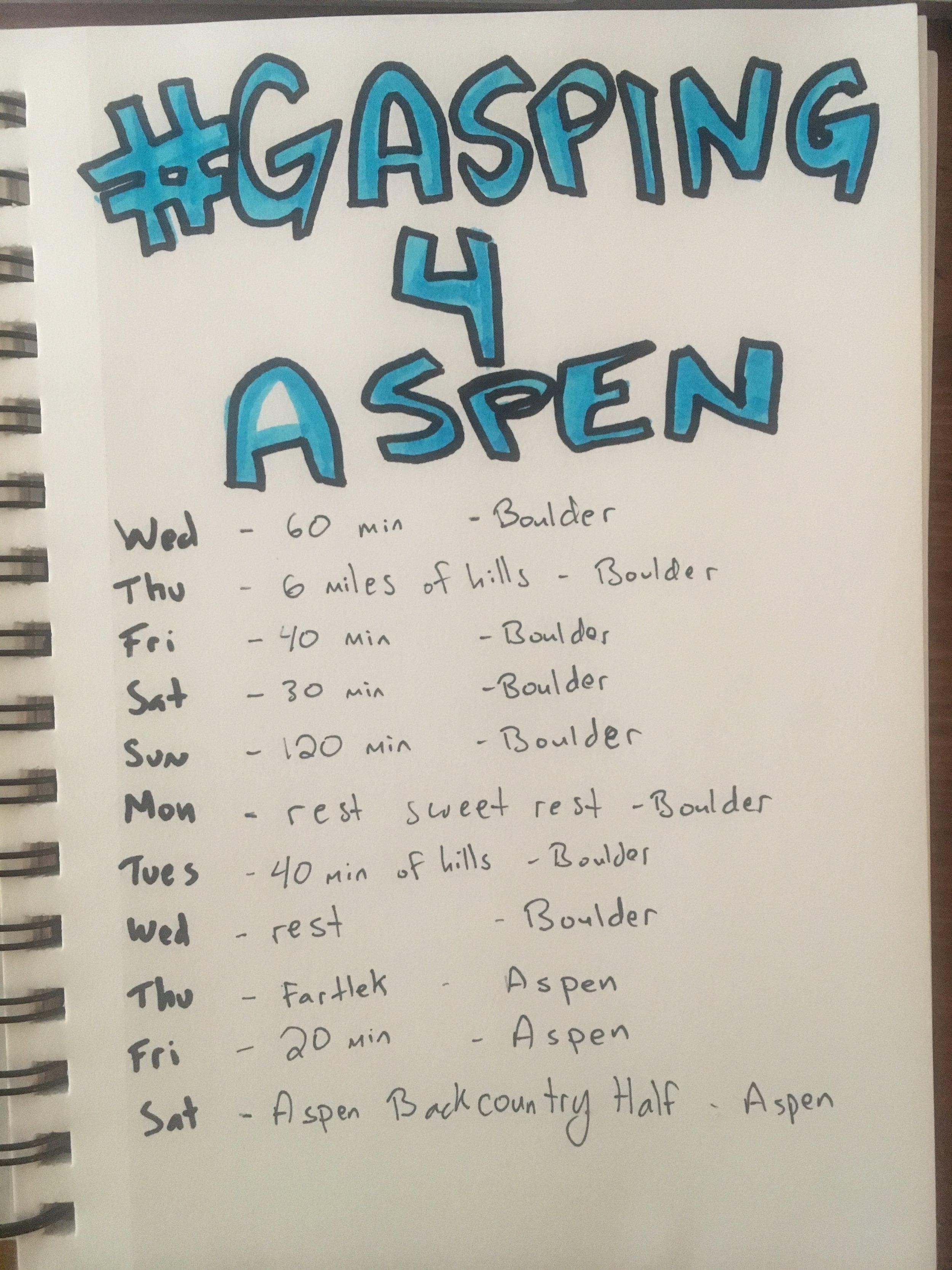 Alex's Boulder training plan!
