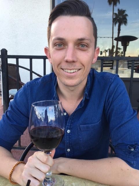 Alex enjoying wine for my birthday!