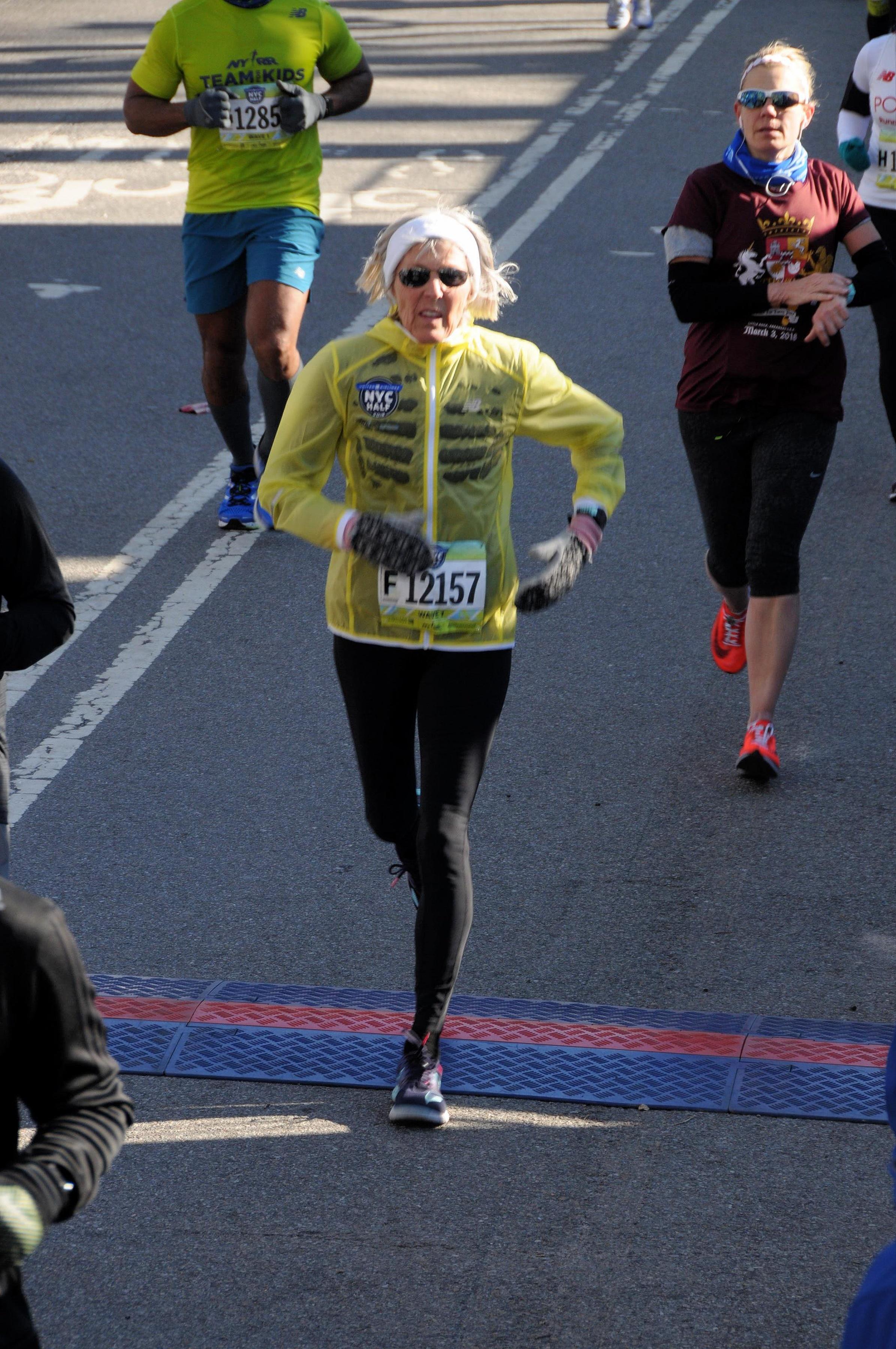 The finish line for NYC Half Marathon, March 18, 2018.
