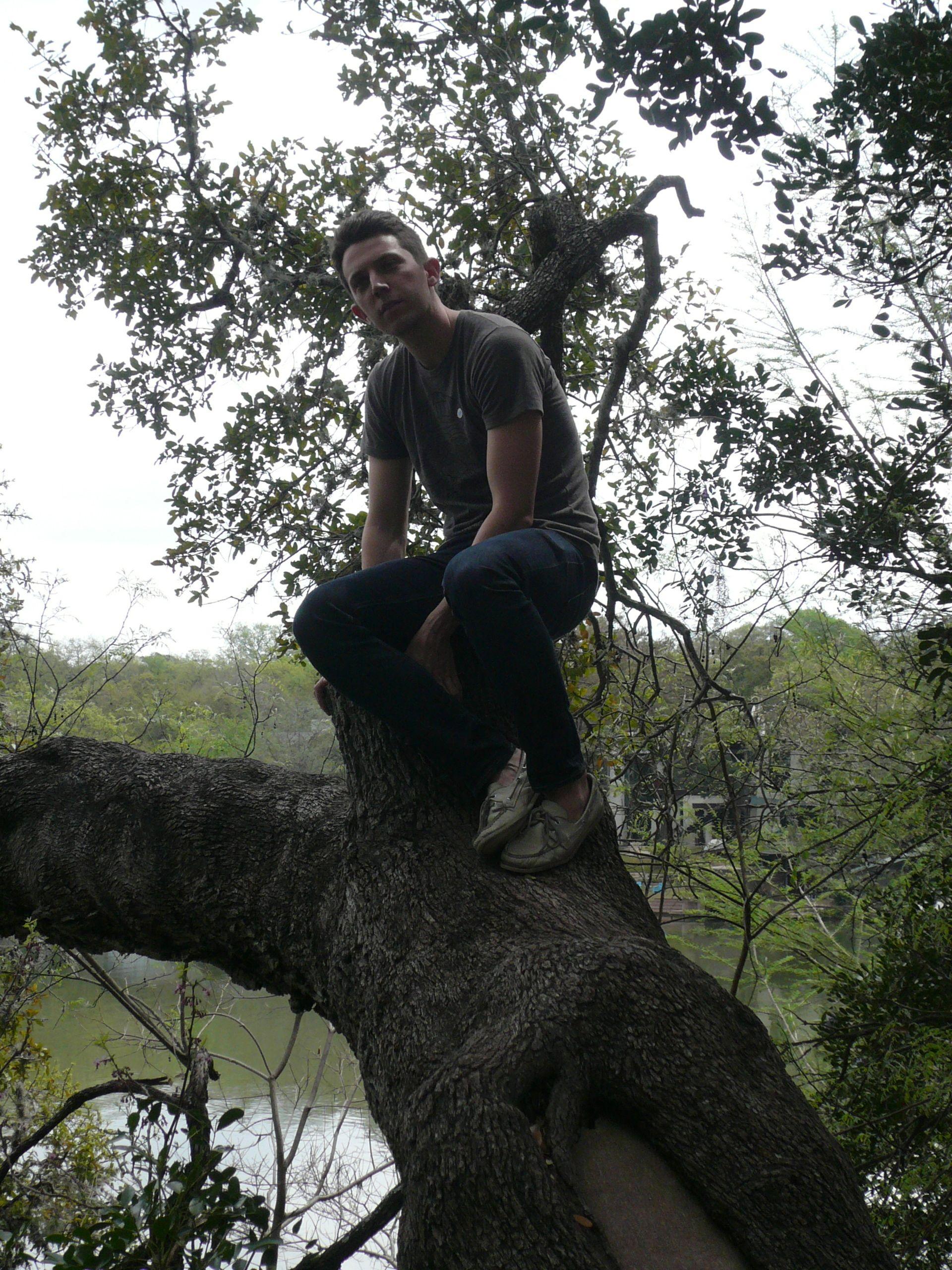 Alex in tree in Austin, c. 2014