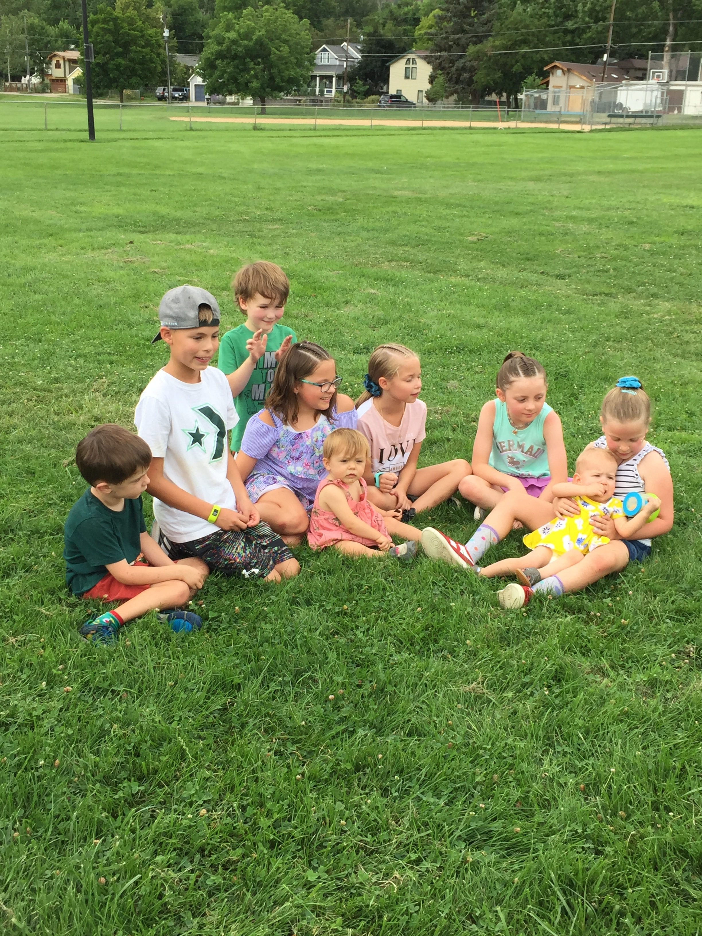 Our grandkids and great-nieces and nephews at family picnic.