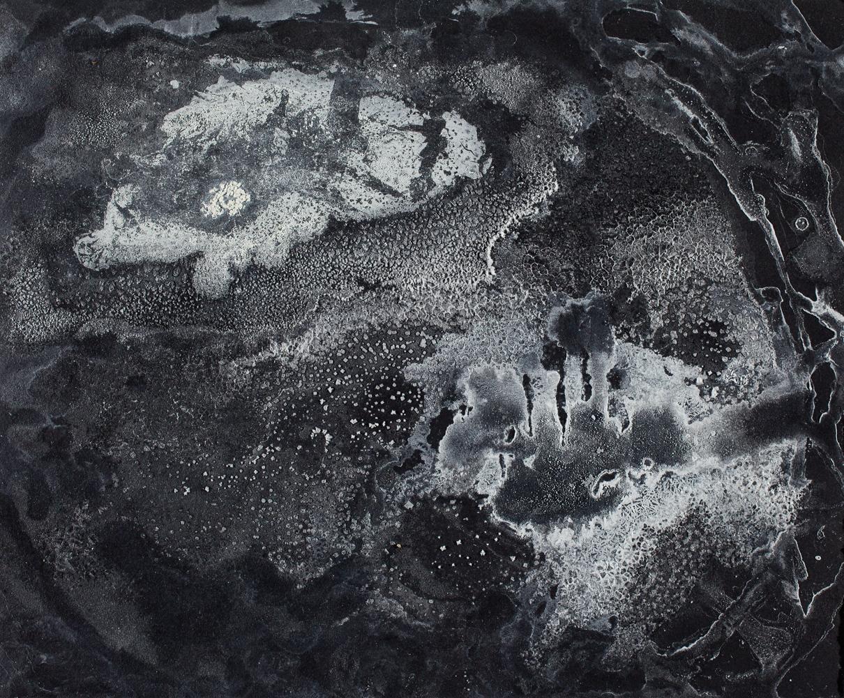 "Untitled   Sea salt and epsom salt crystals on paper 5 1/2""H x 7 1/2""W 2013"