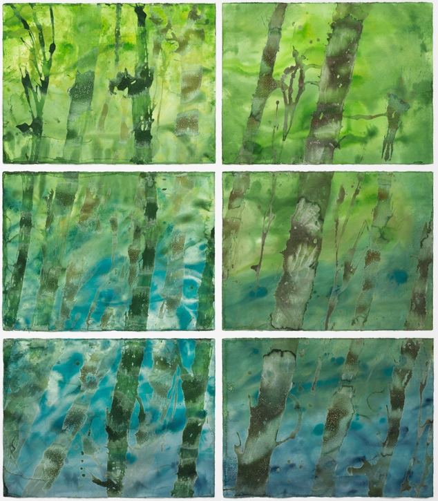 "Giant Kelp Forest   Sea salt crystals and inks on watercolor paper 94""H x 62""W (6 pieces – each 22""H x 30""W) 2016"